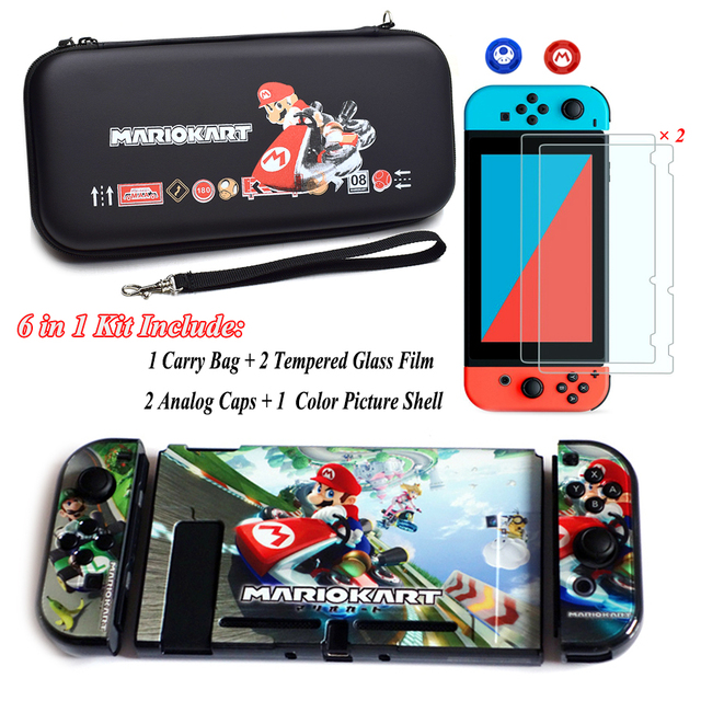 Nintend Switch NS Accessories Carry Bag + 2 Tempered Glass Film + PC Shell Case + Analog Caps for Nintendo Switch Game Console 3