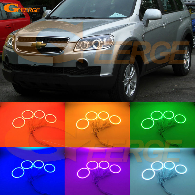 For Chevrolet Captiva S3X 2006 2007 2008 2009 2010 Excellent Ultra bright RGB Multi-Color LED Angel Eyes kit Halo Rings