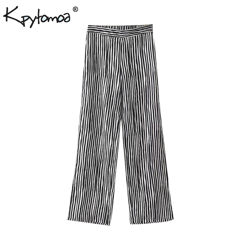 Vintage Black Striped Print   Wide     Leg     Pants   Women 2018 New Fashion Elastic Waist Full Length Loose Trousers Casual Pantalon Femme