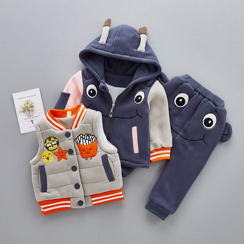 (3 pieces) Winter Kids Clothing Sets Warm Jackets Clothing Sets Baby Girls & Baby Boys Cotton Coats Set With Pants Vest two pieces baby girls floral swimwear children baby bikini cute female kids swimming clothing 3 pieces set hat top pants