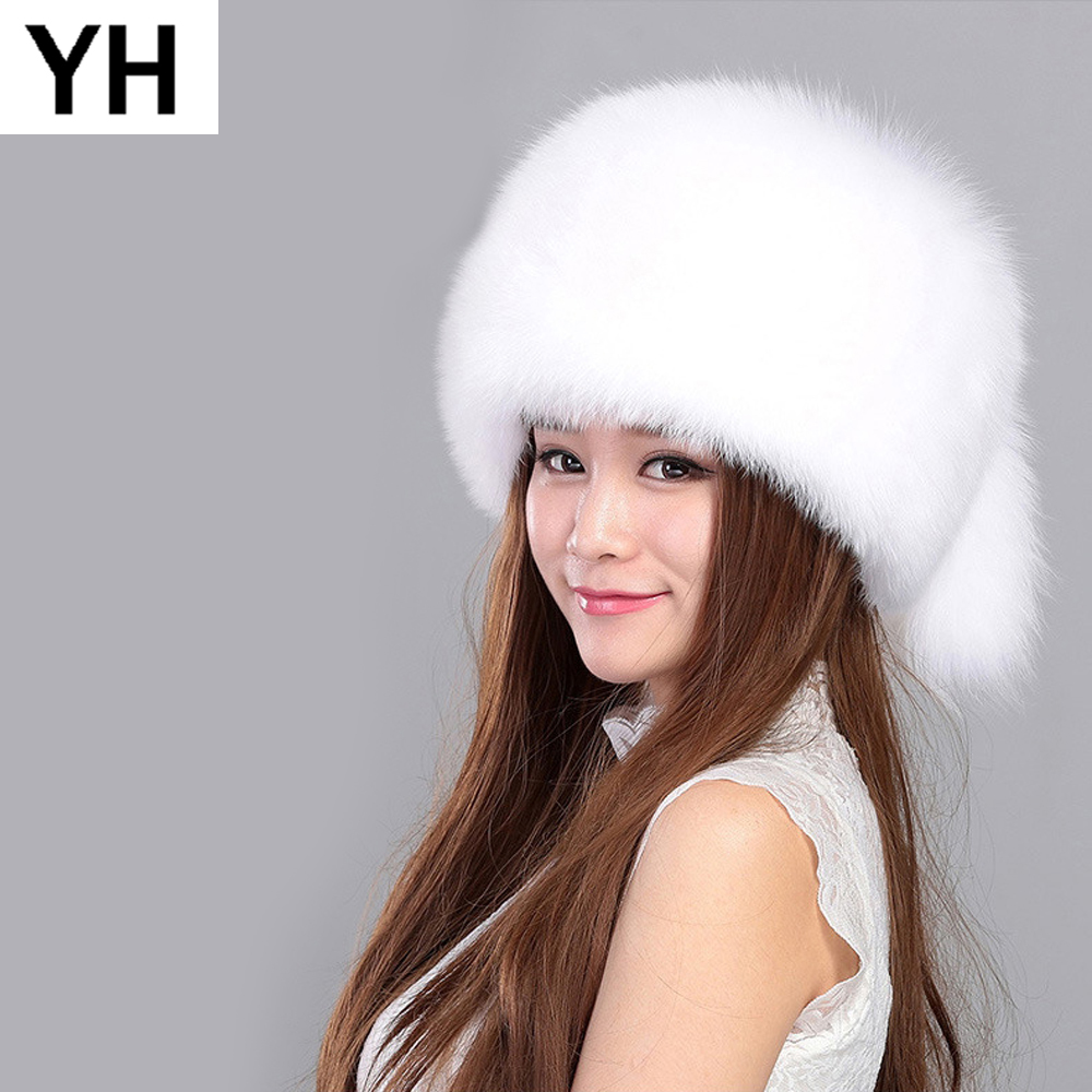 0728dbd3c6c Detail Feedback Questions about 2018 New Lovely Real Fox Fur Hats Bombers Women  Winter Warm Luxury Trapper Hat Caps Russian 100% Real Genuine Fox Fur  Bomber ...