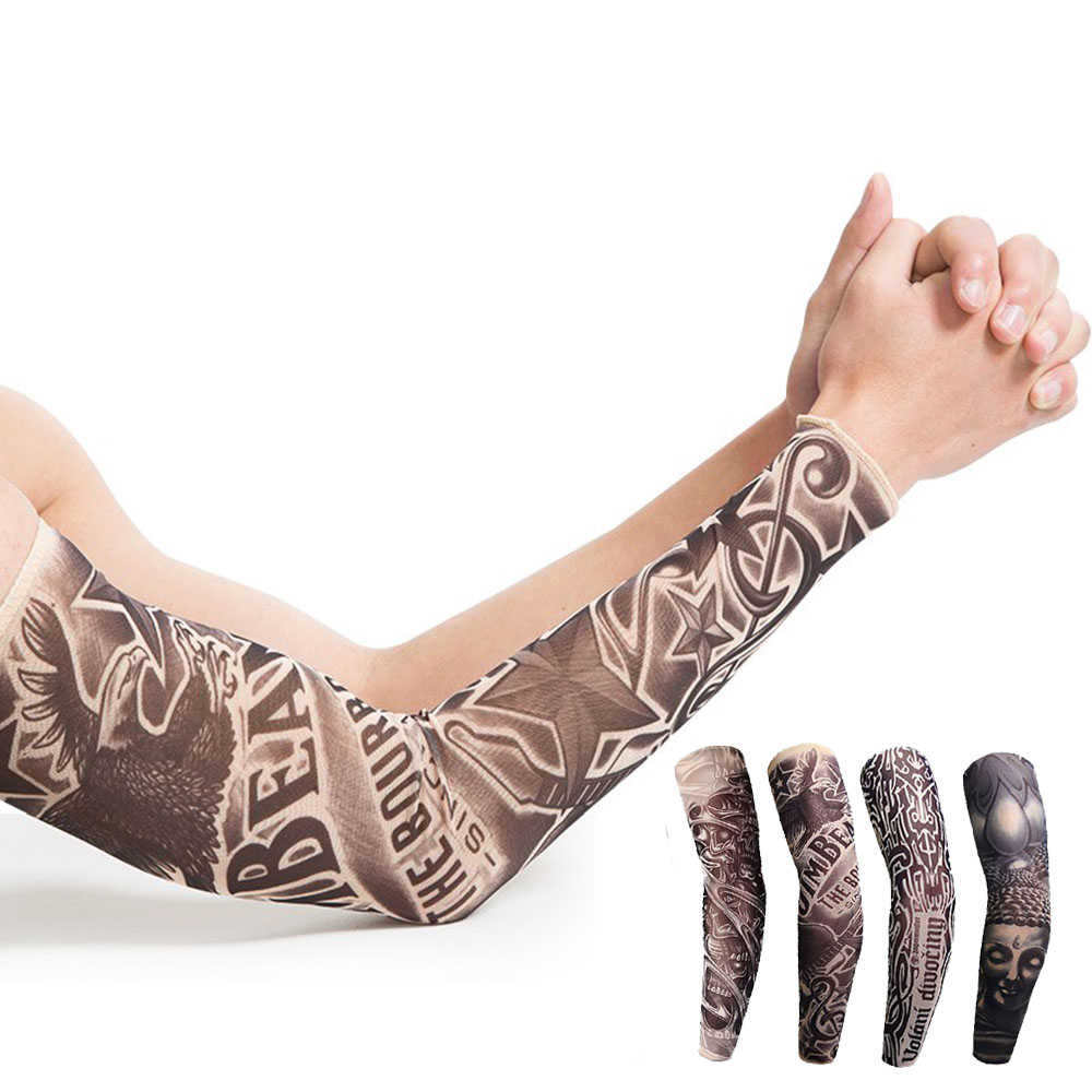 1pcs Tattoo Sleeve Bicycle Sun Cream Hand Long Cuff Cycling Bicycle Hand Cover Sports Outdoor Air Bike Cuff Cover UV Protect