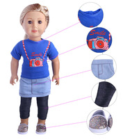 Doll SuitT Shirt Denim Skirt Leggings Casual Shoes A Total Of Four Pieces For 18 Inch