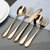 Rose Gold Plated Stainless Steel Plated Flatware Set 2 Spoon Fork Knife Mirror Polishing
