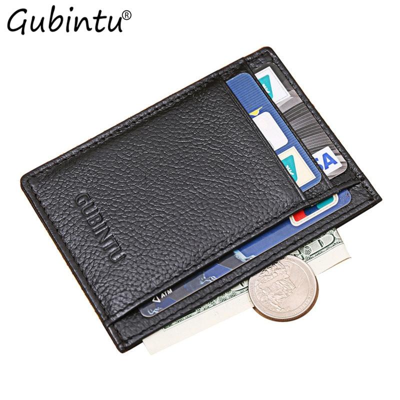 GUBINTU Solid Color Cards Bag Leather Case Business Card Holder Men Credit ID Card Bag Wallet Black pokemon kaarten carteira