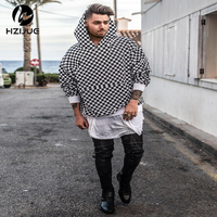 HZIJUE 2017 TOP NEW Justin Bieber Checkerboard Lattice Men Pullover Hoodies Hiphop Fashion Casual Black Sweatshirts