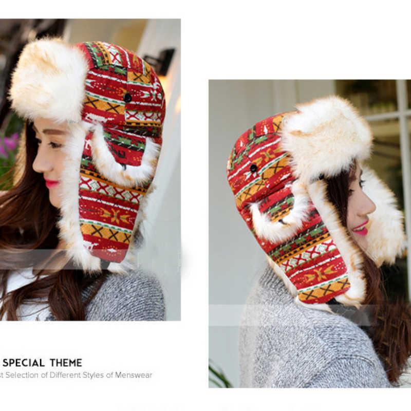 Ht016 cetak rusia musim dingin topi hangat rajutan topi busana bulu earmuff bomber tebal salju ushanka earflap cap wanita musim dingin merah