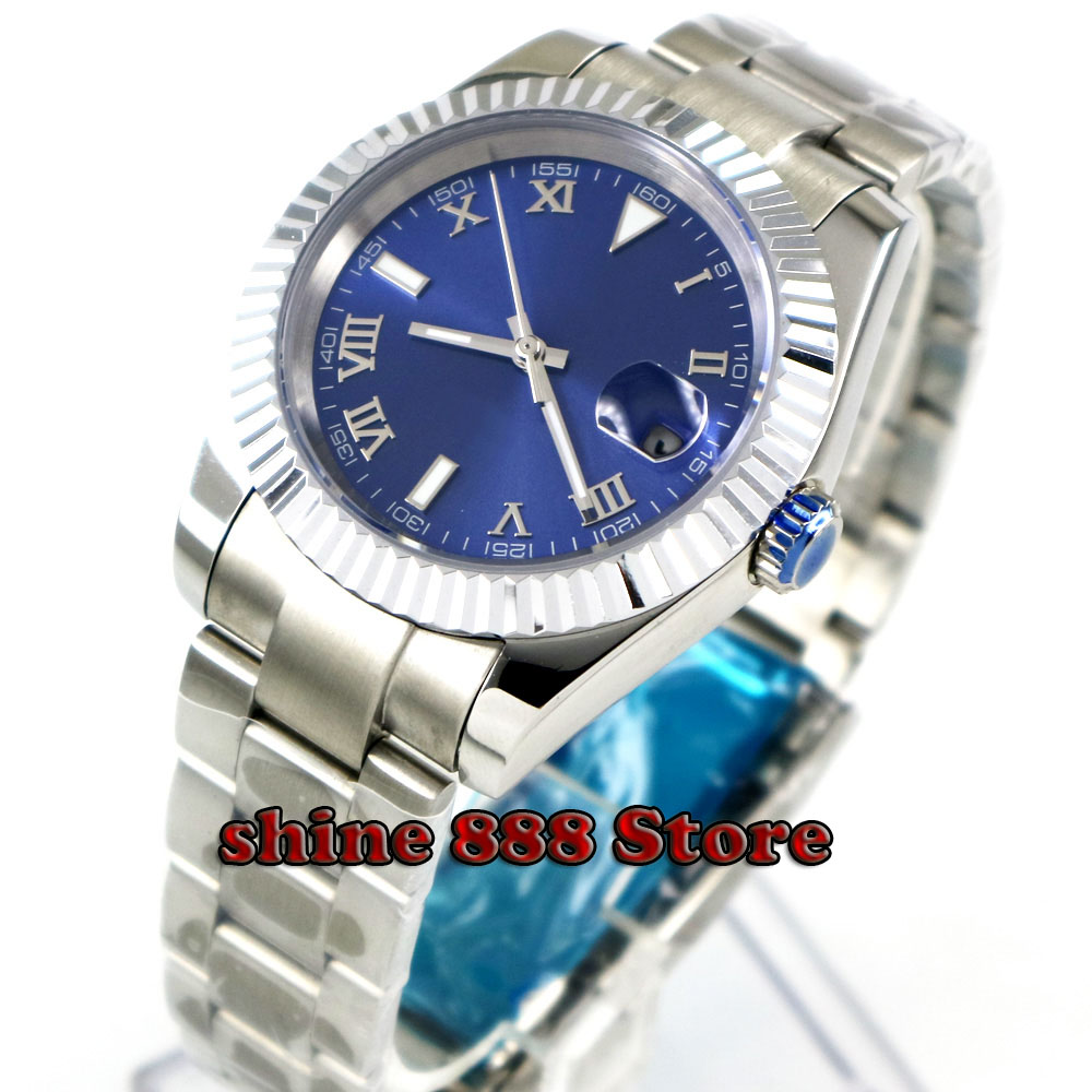 40mm Bliger Blue Sterile Dial Sapphire Coin Bezel Solid Luminous Automatic men s Watch