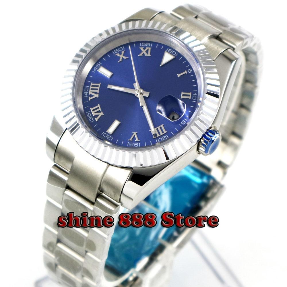 40 ミリメートル Bliger ブルー滅菌ダイヤルサファイアコインベゼル固体発光自動メンズ腕時計  グループ上の 腕時計 からの 機械式時計 の中 1