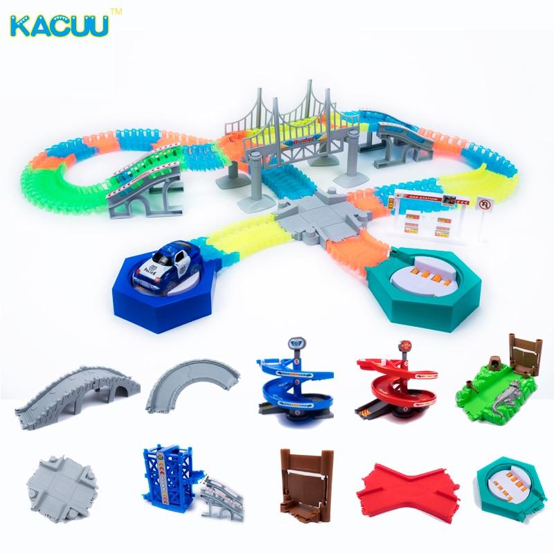 Magical Glowing Race Track DIY Universal Accessories Ramp Turn Road Bridge Crossroads Rail Car Toy Racing Tracks Kids Gifts
