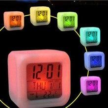 Cube цифровые часы-будильник креативные 7 цветов светодиодный изменения часы термометр светящиеся ночью будильники 24-часовой формат времени календарь