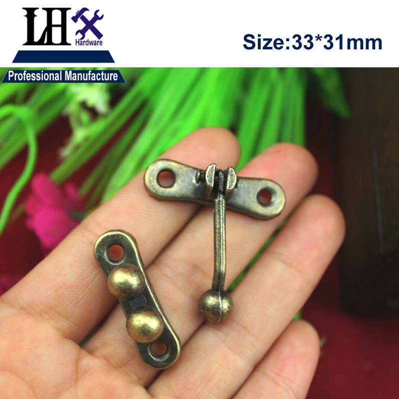 LHX 4pcs/lot Bronze Pearl Hasp Lock for Jewelry Gift Box Wood Case Cabinet Furniture Har ...