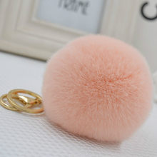Big Real Rex Rabbit 8cm Fur PomPom KeyChain Hair Bulb Bag Pom Pom Ball Key Chain Pendant Poret Clef for Women Lovely Fluffy(China)