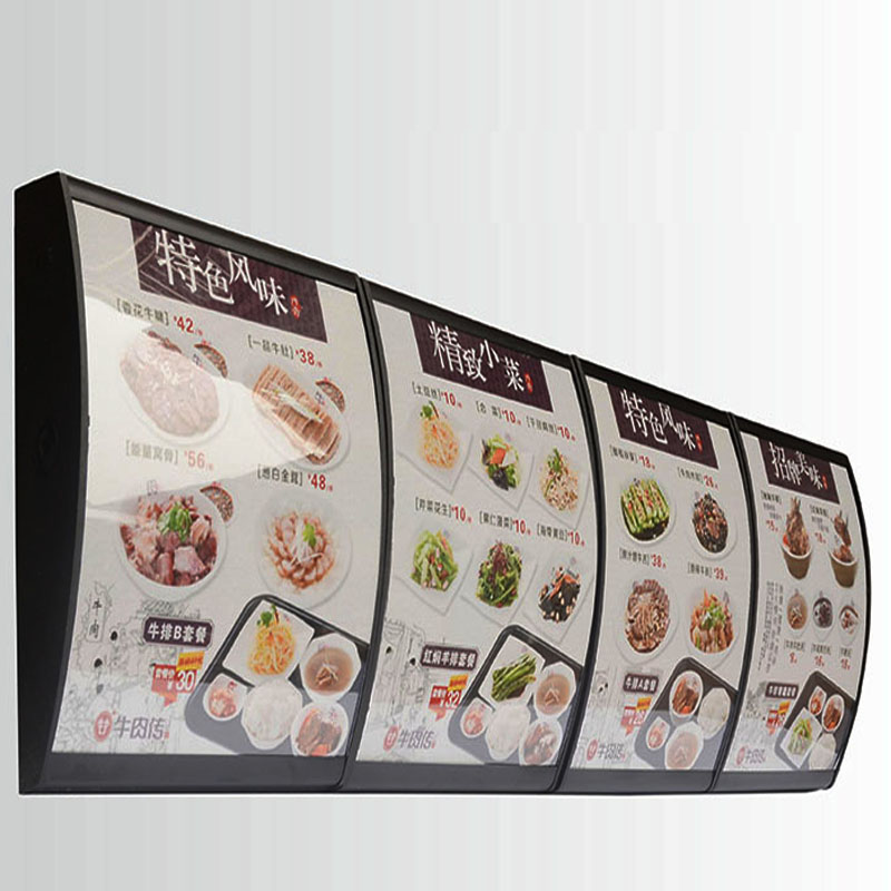 (3 Graphics/column) Wall Mounted LED Curved Menu Light Box,Illuminated Board Sign Restaurant Take Away