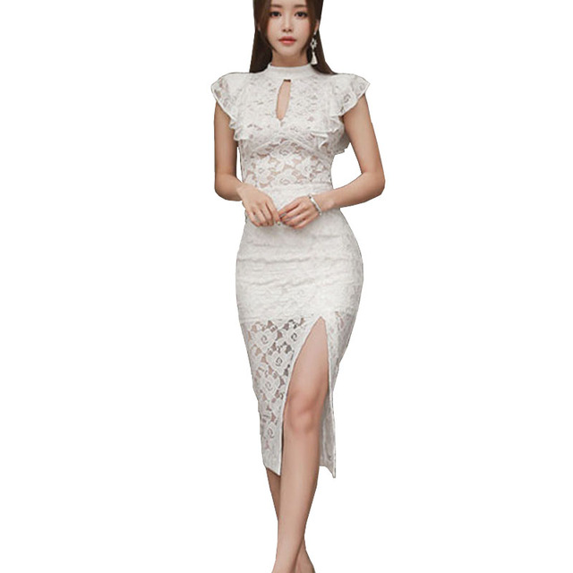 f0a1ea7e44e 2018 High Quality Lace Fabric Women White Two Piece Sexy Keyhole Ruffles  Sleeve Blouse Top Mujer And Split Bodycon Skirt Set