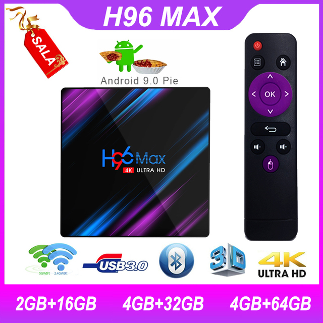 Android 9.0 koqit TV BOX H96max RK3318 TV BOX Android 4gb RAM 64g ROM quad core 2.4G/5G wifi 4K HD H.265 BT4.0 Smart Set top box