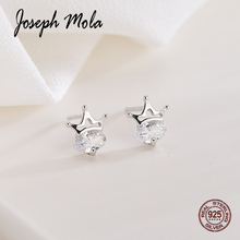Joseph Mola 925 Sterling Silver Trendy Princess Crown Cubic Zirconia Stud Earrings For Women Kids Korean Style Fashion Jewelry