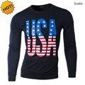 NEW 2016 Winter Base layer Long Sleeve Crossfit Casual Letters Color Big USA Printing Men's Fleece O-Neck Men ToP T shirt Men
