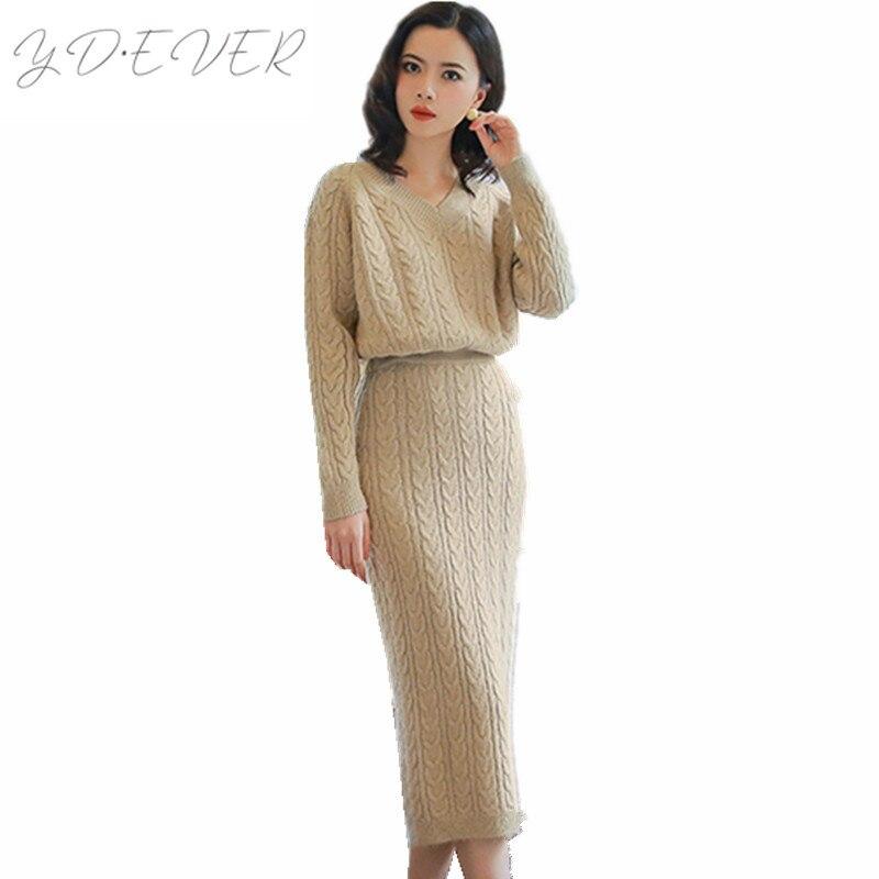 High Quality Knit Sweater Skirt Set 2019 Autumn winter Loose Casual Jumper Calf length Pencil Skirts Women 2pcs clothes Set