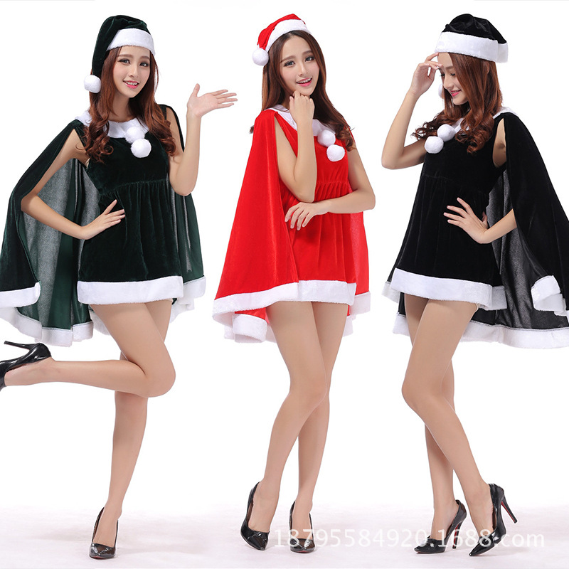 x62 fashion sexy christmas costume new sexy women santa dress xmas party outfits velvet teenage christmas dress