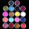 18 Colores Glitter Polvo de Uñas De GEL UV Brillante Polvo Del Brillo Decoración de Uñas Herramientas Gratis