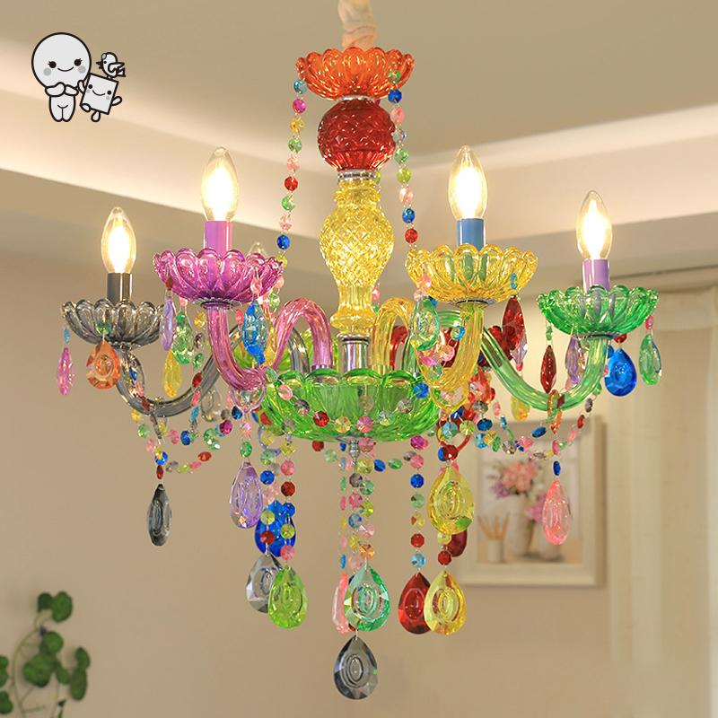 Colored Hand Blown Glass Candle Chandelier Light Fixture Nordic Art Deco Hanging Ceiling Lamp Lustre for Princess Girls Bedroom
