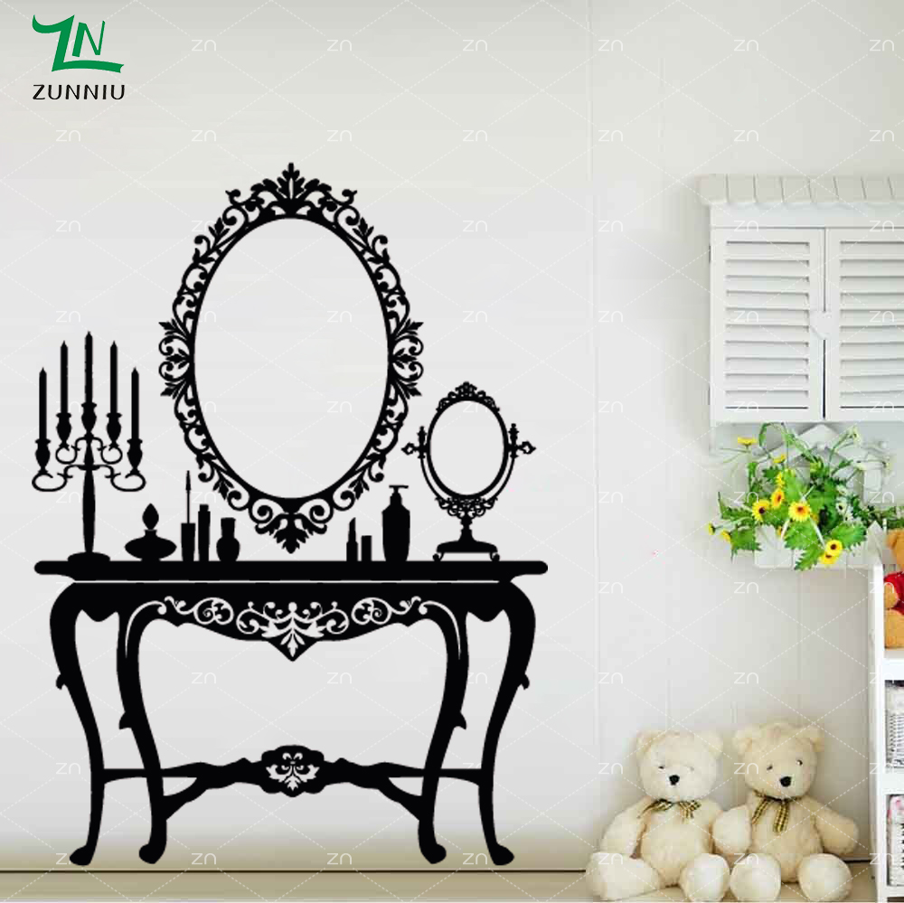 C121 Retro Vintage Dressing Table Wall Sticker For Kids Girls Room