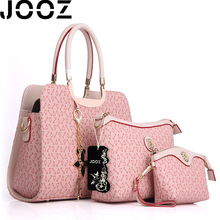 JOOZ Brand Socialite Fishbone Women PU Leather Handbag 3 Pcs Set High Quality Lady Messenger Crossbody