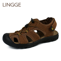 LINGGE Brand Cross Tied Men Sandals Summer Breathable Shoes Men Slippers Outdoor Walking Casual Beach Sandal