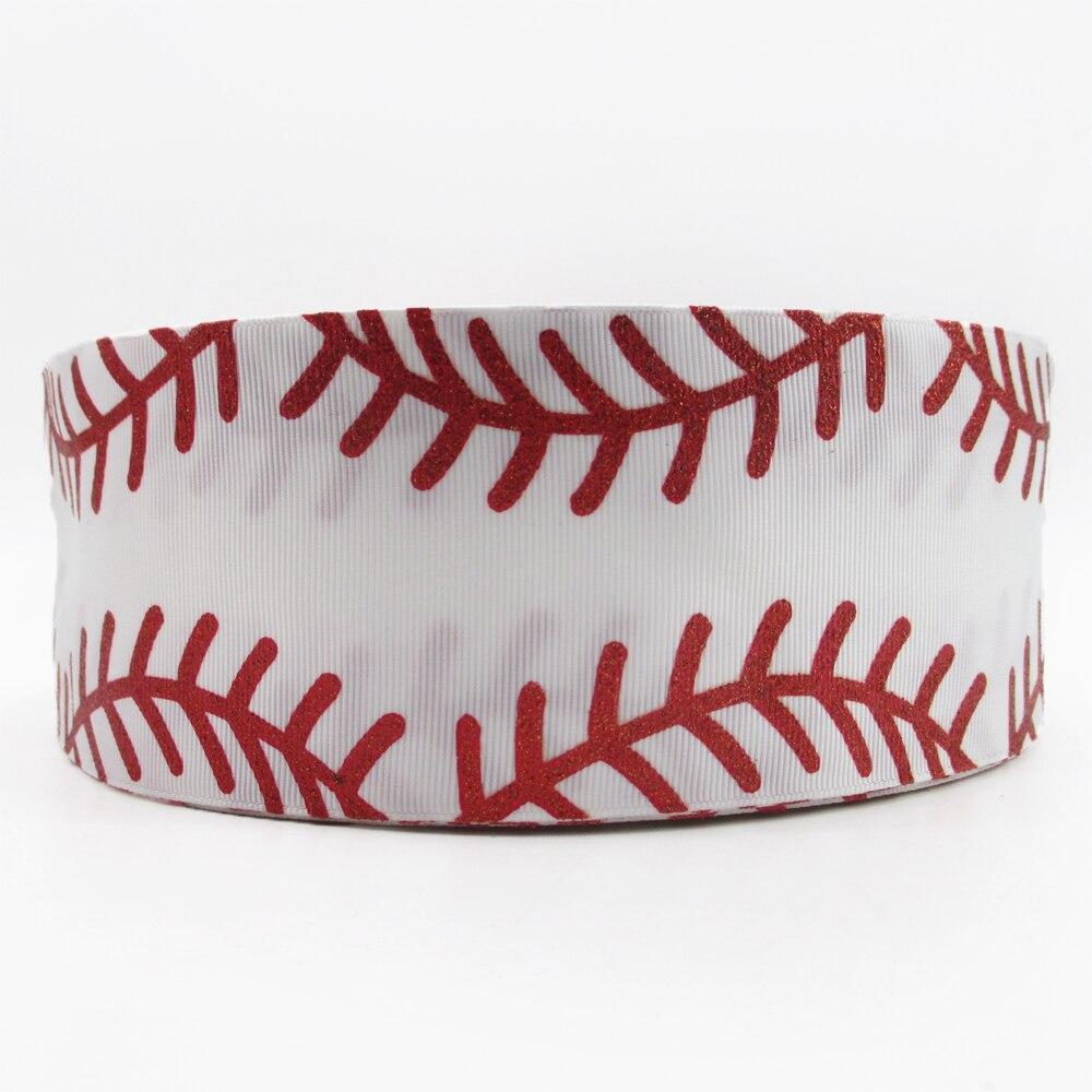 3'' 75mm  glitter Baseball line printed polyester ribbon 10 yards,DIY handmade materials,wedding gift wrap,10Y52440
