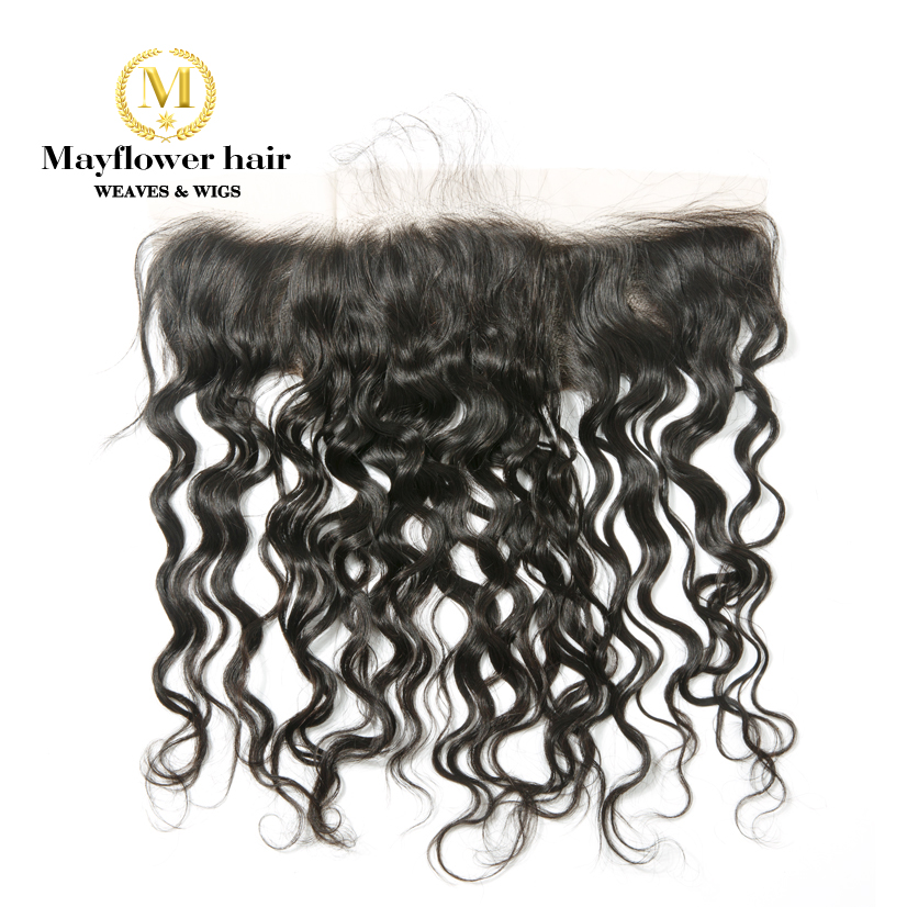 """Ear To Ear 13X4"""" Lace Frontal  100% Virgin Hair Water Wave Full Hand Tied With Baby Hair Free Parting Natural Color Can Be Dye"""