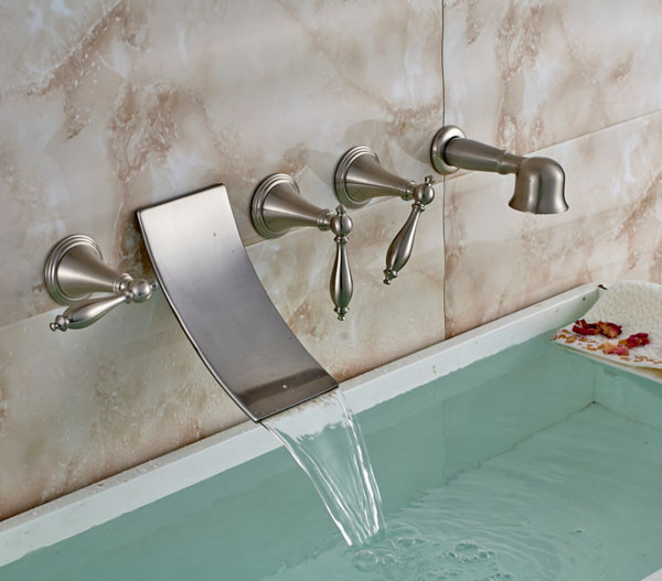 modern brushed nickel bathroom wall mounted waterfall tub faucet with brass hand shower