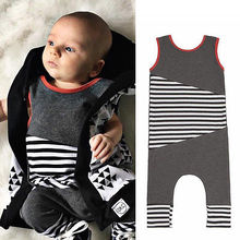 Toddler Children Kids Baby Girl Boy Clothes Bodysuit Gray Striped Jumpsuit Summer Outfits