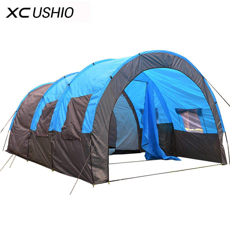 1x 480*310*210cm Big Doule Layer Tunnel Tent 5-10 Person Outdoor Camping Family Party Hiking Hunting Fishing Tourist Tent House high quality outdoor 2 person camping tent double layer aluminum rod ultralight tent with snow skirt oneroad windsnow 2 plus