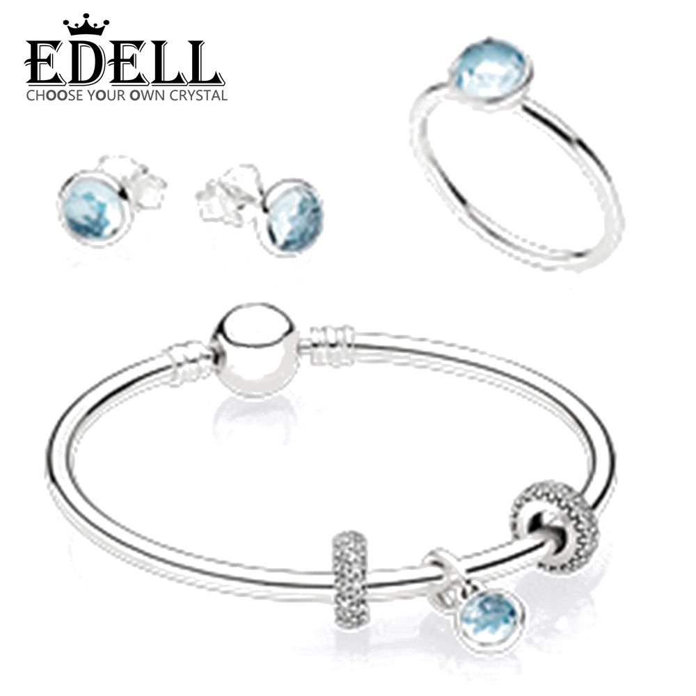 EDELLS925 Sterling Silver Bracelet Ring Pendant Earring suit Blue Crystal A ladys gift Classic fashion Manufacturer wholesaleEDELLS925 Sterling Silver Bracelet Ring Pendant Earring suit Blue Crystal A ladys gift Classic fashion Manufacturer wholesale