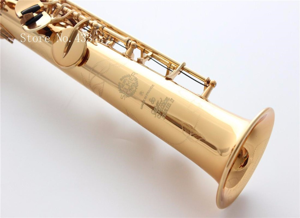 french selmer Model high pitch Bb soprano saxophone superaction SS-802 musical instrument was flat saxofone super action soprano saxophone bb curved sax high f with case the blue silver keycopper simulati copper simulation soprano saxophone