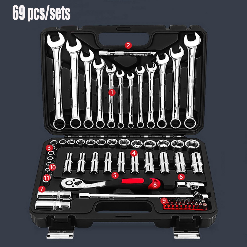 69 pcs/sets Socket Ratchet Wrench Automobile Professional Repair Tools Kit Torque Wrench Combination Bit a set of keys inner hexagon key wrench set professional tools set l wrench set 9 pcs
