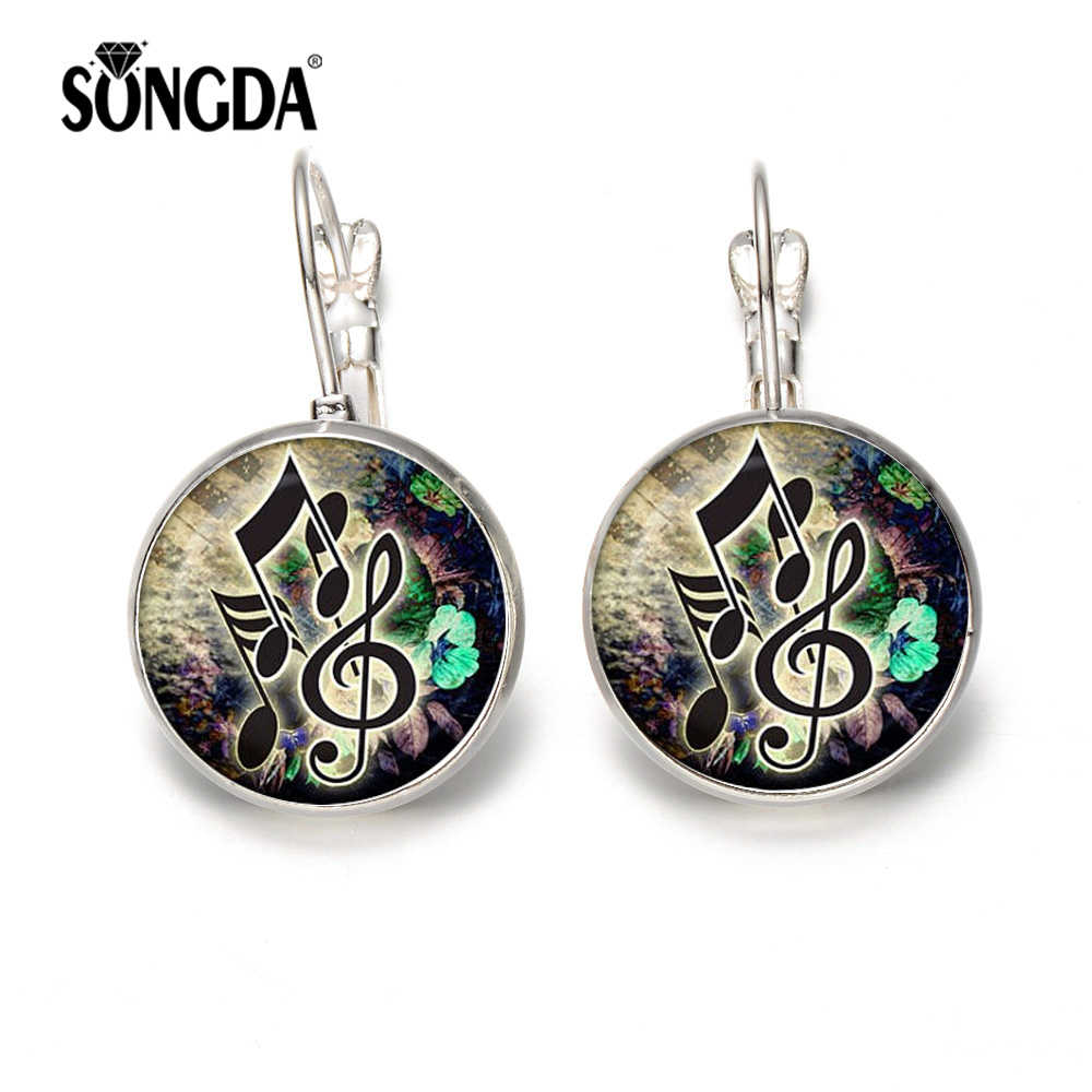SONGDA Trendy Music Notes Hook Statement Earrings Treble Clef and Notes Glass Crystal Silver Bronze Color Earring Women Jewelry