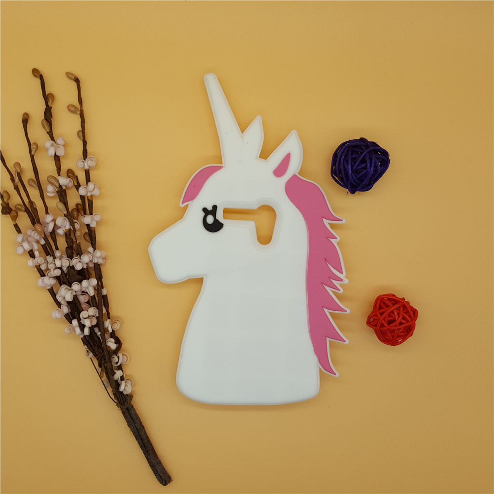 Galleria fotografica 3D Cute Cartoon Unicorn Soft Silicone Rubber Case Cover For Motorola Moto G XT937C XT1028 XT1031 XT1033 XT1032 White Horse Case