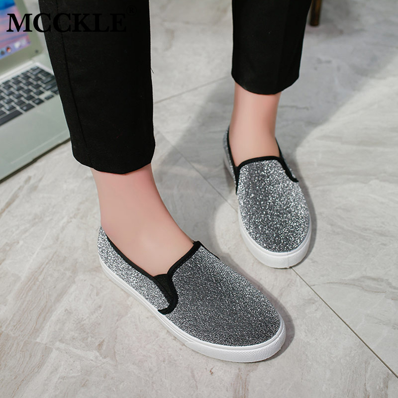 MCCKLE Spring Slip On Women Flats Female Elastic Band Sequined Cloth Platform Flat Shoes Woman Vulcanized Casual Sneakers vintage embroidery women flats chinese floral canvas embroidered shoes national old beijing cloth single dance soft flats