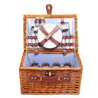 Large Picnic Storage Basket Baskets Set 4 Person Cotton Linen Mat Blanket Food Container Family Outdoor Picnic Box 51x35x26cm