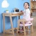 Conjuntos de Mobília das crianças Crianças conjuntos de mesa & cadeira de Móveis de madeira maciça 73*45*62 cm rosa PU + cadeiras de madeira toda venda quente novo 2017