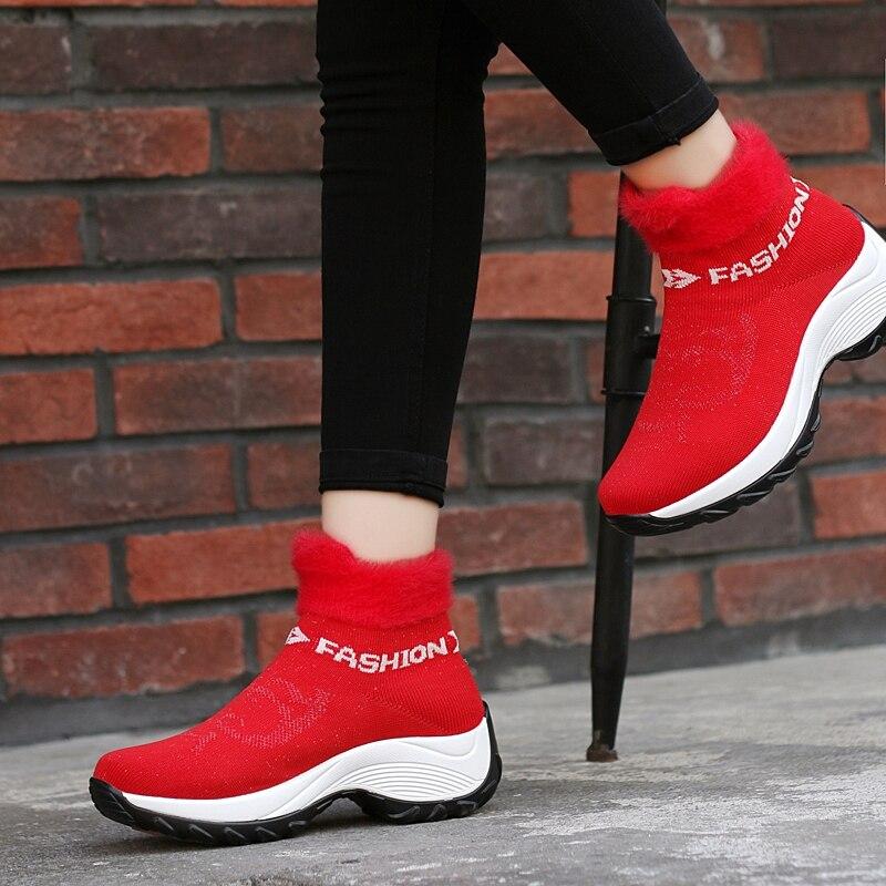 2019Winter Women Sneakers Fashion Platform Wedges Shoes Woman Slip-on Snow Boots Ladies Warm Fur Sock Boots Shoes Big Size 41 42
