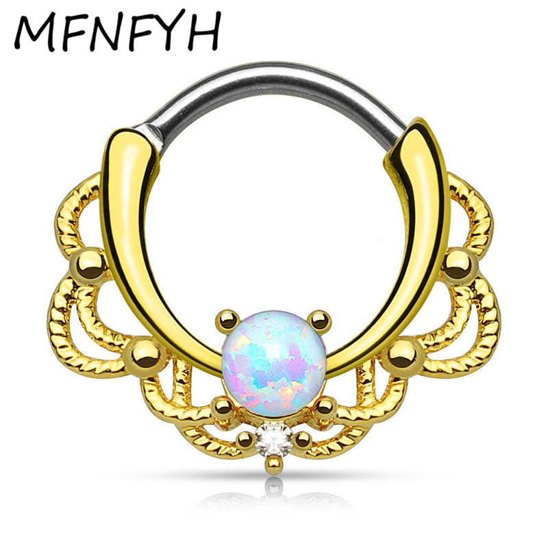 MFNFYH 1PC G23 Titanium Nose Rings for Women India Hinged Segment Ring Septum Clicker Piercing Opal Stone Nose Ring Body Jewelry