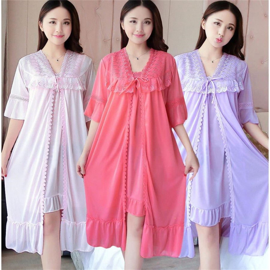 Sexy V Neck Nightdress Sleep Wear Night Shirt Home Dress Nightgown Princess Sleepwear 2019 Ladies Nightdres Dress + Outwear