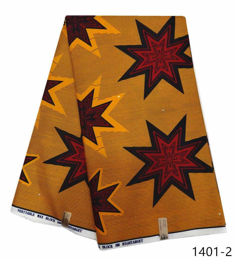 100% полиэстер Воск Печать Ткань Анкара ткань новый воск высокого качества 6 ярдов африканская ткань для вечерние платья 1401