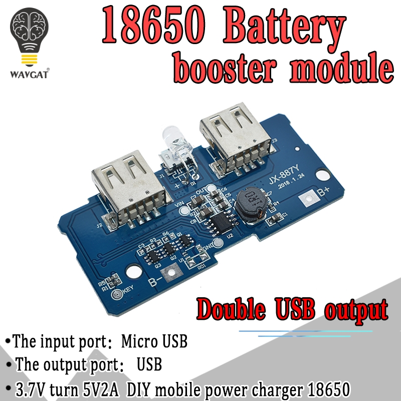 WAVGAT 5V 2A <font><b>18650</b></font> <font><b>Power</b></font> <font><b>Bank</b></font> Charger Module Charging Circuit <font><b>Board</b></font> Step Up Boost <font><b>Power</b></font> Supply Module Dual USB Output 1A Input image