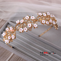 T Fashion Gold Color Floral Hairband Girl Pink Flower Hairwear Crown Party Wedding Hair Accessories Bride