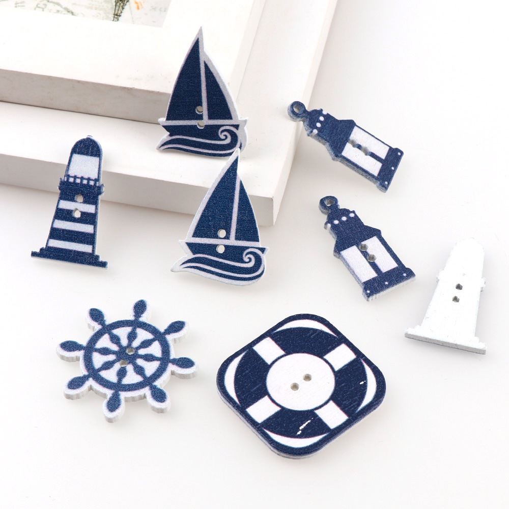 15 Wooden Round NAUTICAL OCEAN SEA FISH BOAT Buttons 15mm Crafts-Scrapbook-Card