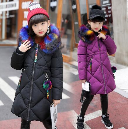 3-16 Years Girls Cotton-padded Outerwear & Coats 2018 Winter Children Warm Clothes fashion multicolour Fur Collar Thicken Jacket3-16 Years Girls Cotton-padded Outerwear & Coats 2018 Winter Children Warm Clothes fashion multicolour Fur Collar Thicken Jacket